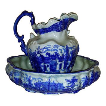 Vintage Chinese Flow Blue Pitcher & Wash Basin - A Pair