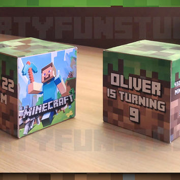 Minecraft Birthday Invite Cube 3D - Minecraft Printable - Birthday Invite Card - Party - Personalized
