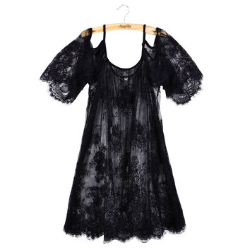 Big Plus Size Loose Women Lace Blouse White Black Off Shoulder Beach Sunscreen Swimsuit Cover Up Summer Sheer Sexy Shirt Dress