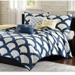 Scallop Navy and White Quilt Bedding Set