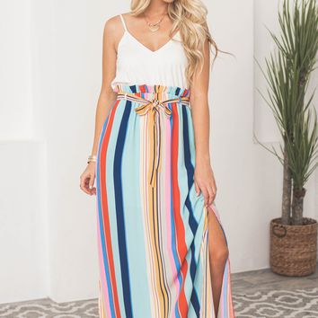Abigail Paperbag Striped Pocket Maxi Dress