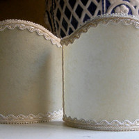 Pair of Wall Sconce Clip-On Shield Shades Veined Parchment Mini Lampshade - Handmade in Italy