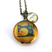 Retro Sewing Machine Painted Locket Craft Love Crafting Word Pendant Brass Setting Library Card Necklace One of a Kind