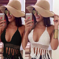 Womens Sexy Deep V-neck Crochet Knit Crop Top Halter Bra Bralette Summer Blouse