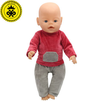 43cm Baby Born Zapf Doll Clothes Red Shirt Grey Trousers Set Princess Dress Zapf Doll Accessories Handmade Causal Style 095