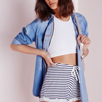 Missguided - Stripe Jersey Shorts White