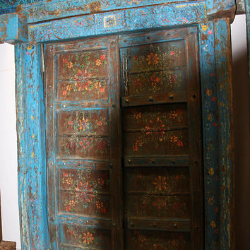 Distressed Blue Floral Indian Teak Double Doors Hand Carved Haveli Vintage Floral Painted Wooden Door Architectural Interior Design