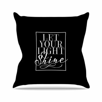 "Noonday Design ""Let Your Light Shine"" Black White Throw Pillow"