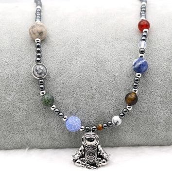 9 Planets Solar System Astronaut Pendant Necklace Meditation Galaxy Universe Spaceman Hematite Beaded Silver Gold color Options