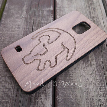 Lion king Galaxy S4 case, Wood Galaxy S5 case, Wooden Samsung Galaxy case, disney phone case - MW4