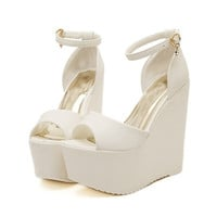 2017 Fashion White Peep Toe Sexy Women Wedges Sandals Extreme High Heels Ladies Pumps Platform Shoes Woman Summer style Black