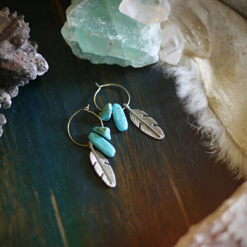 summer rain // turquoise & feather hoop earrings