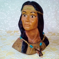 Vintage Native American Indian Princess Squaw Girl Lg Bust Hand Painted Ceramic Porcelain Figure Head w Arrowhead  Home Decor Collectable