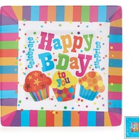 "It's My Party Happy Birthday Melamine 8"" Square Plates - Set of 4"