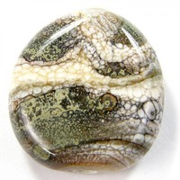 Handmade Lampwork Glass Focal Bead Organic Silvered Ivory Pressed Web
