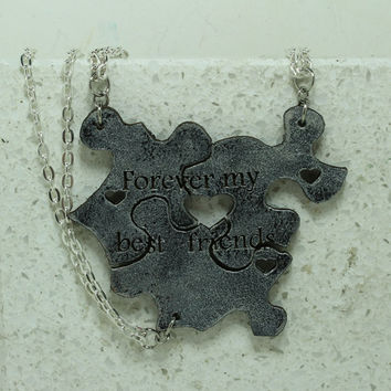 Best Friend Puzzle Piece Interlocking Necklaces 3 Piece Set Leather Pendants Silver Leather