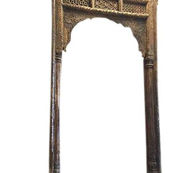 Antique Arch sHEKHWATI Teak Welcome Gate Headboard Hand Carved Vintage OLd World Architectural Design