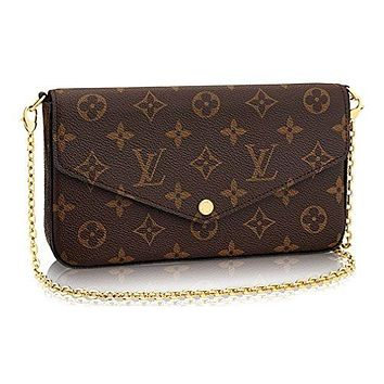 LV Women Shopping Leather Tote Louis Vuitton Monogram Canvas Pochette Felicie Wallets Handbag Clutch Article:M61276