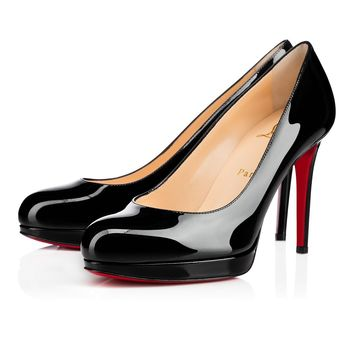 Best Online Sale Christian Louboutin Cl New Simple Pump Black Patent Leather 100mm Stiletto Heel Classic