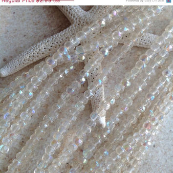 Sale 50 pc 3x2mm faceted Czech glass beads-AB finish Crystal rondelles-sparkle,shiny glass,quality beads-full strand-bead embroidery-Crystal