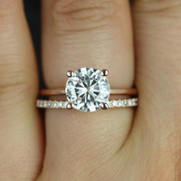 Skinny Alberta 8mm & Swt Kubian 14kt Rose Gold Round FB Moissanite and Diamond Wedding Set (Other metals and stone options available)