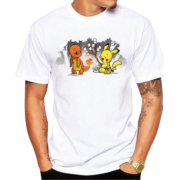 Pikachu & Charmander Roasting Marshmallows Pokemon Men's Short Sleeve Casual White T-Shirt