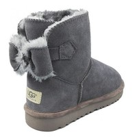 UGG Women Fashion Bow Wool Half Boots Snow Boots Shoes-2