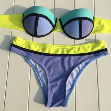 Sexy Bandeau Contrast Color Bikini Set Bandage Swimsuit Bathing Suit Hot Swimwear Women Halter Swimwear