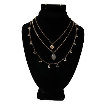 Dainty Multi Layer White and Pearl Necklace Set