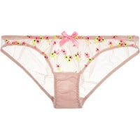 L'Agent by Agent Provocateur - Clementina embroidered stretch-tulle briefs