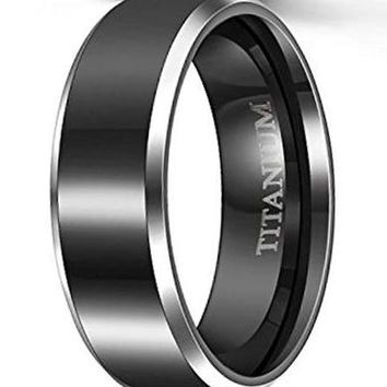 CERTIFIED 8mm Black Titanium Rings Wedding Bands Flat Two Silver Tone
