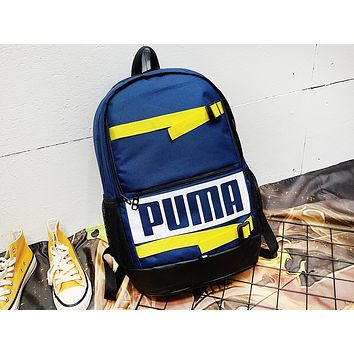 PUMA fashionable printed patchwork color backpack is a hot seller for women's backpacks Dark Blue