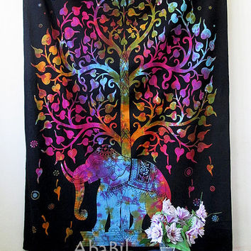 SMALL ELEPHANT TAPESTRY, Hippie Bedding Throw, Twin Cotton Elephant Tree Tapestry Wall Hanging, Indian Tapestry Bedspread, Boho Tapestry