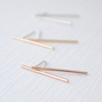 Simple Bar Earrings - bar stud earrings - bar studs - 3142
