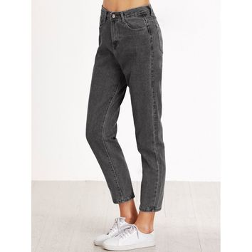 Grey Regular High Waist Jeans