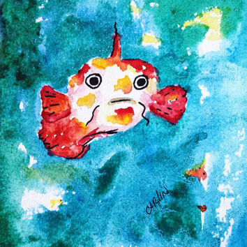 Original Watercolor painting, fish, 5x7 whimsical, beach theme, childrens room, nursery, new baby, nautical theme, animal theme