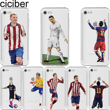 Soccer Cartoon Cristiano Ronaldo messi Neymar soft silicone phone cases cover for iphone 6 6S 7 plus 5S SE Capinha Coque fundas