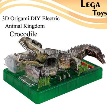 3D Origami DIY Electric Animal Kingdom Crocodile,Electric Circuit Paper Science Kits for Kids,DIY Puzzle Paper Science Model Toy