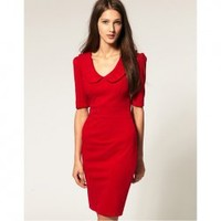 Elegance Style Column Type Middle Sleeve High Elastic 320g Ponte-De-Roma Dress For Women China Wholesale - Sammydress.com
