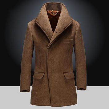 Solid Color Slim Fit Blends winter Autumn Turn-down Collar Man Overcoats Plus Size M-XXXXL Brand Clothing pea coats men