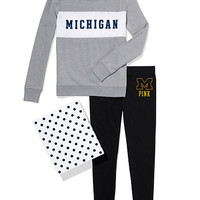 University of Michigan Colorblock Crew & Legging Gift Set - PINK - Victoria's Secret