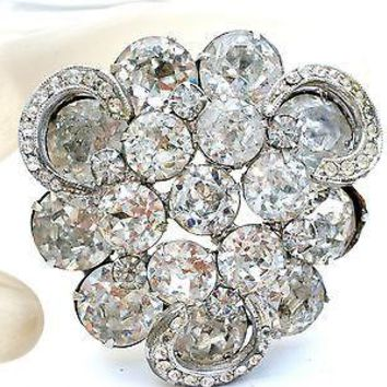 Weiss Brooch Clear Rhinestones Sash Ornament Hair Wedding Pin Rockabilly Vintage