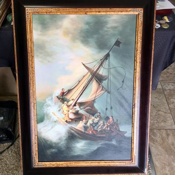 Rembrandt Storm on the Sea Of Galilee Framed Oil Reproduction