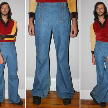 Vintage 70s LEE Bell Bottom Jeans / RARE NOS 'Fade Out' / Light Blue Stone Wash Denim Jeans / High Waisted Flares / Hippie, Retro / 34 XLong