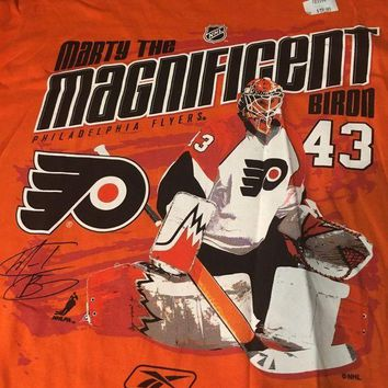 CREYONC. BRAND NEW RETRO PHILADELPHIA FLYERS MARTY BIRON MARTY THE MAGNIFICENT TEE SHIRT