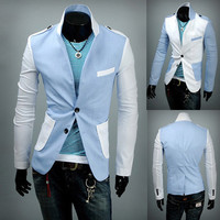 Men Fashion Style Slim Fit Two Button Blazer