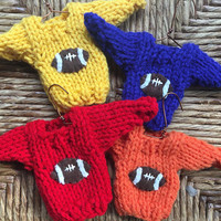 Custom Football Ornament in Your Team Color, Handmade Tiny Sweater Ornament for the Football Fan, Cubicle Decor, Coach Gift, Team Gift