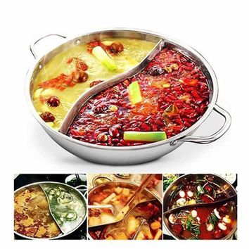 CREYLD1 Hot Pot Twin Divided Stainless Steel 28cm Cookware Induction Little Sheep Hot Pot Ruled Compatible Soup Stock Pots Home Kitchen