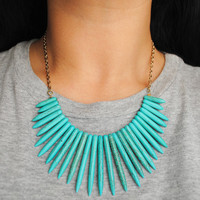 Turquoise Bib Spike Necklace and Chain by theblackfeather on Etsy
