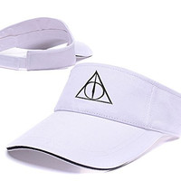 ZHHUA Harry Potter And The Deathly Hallows Logo Adjustable Embroidery Tennis Golf Baseball Hat Sun Visor Cap White